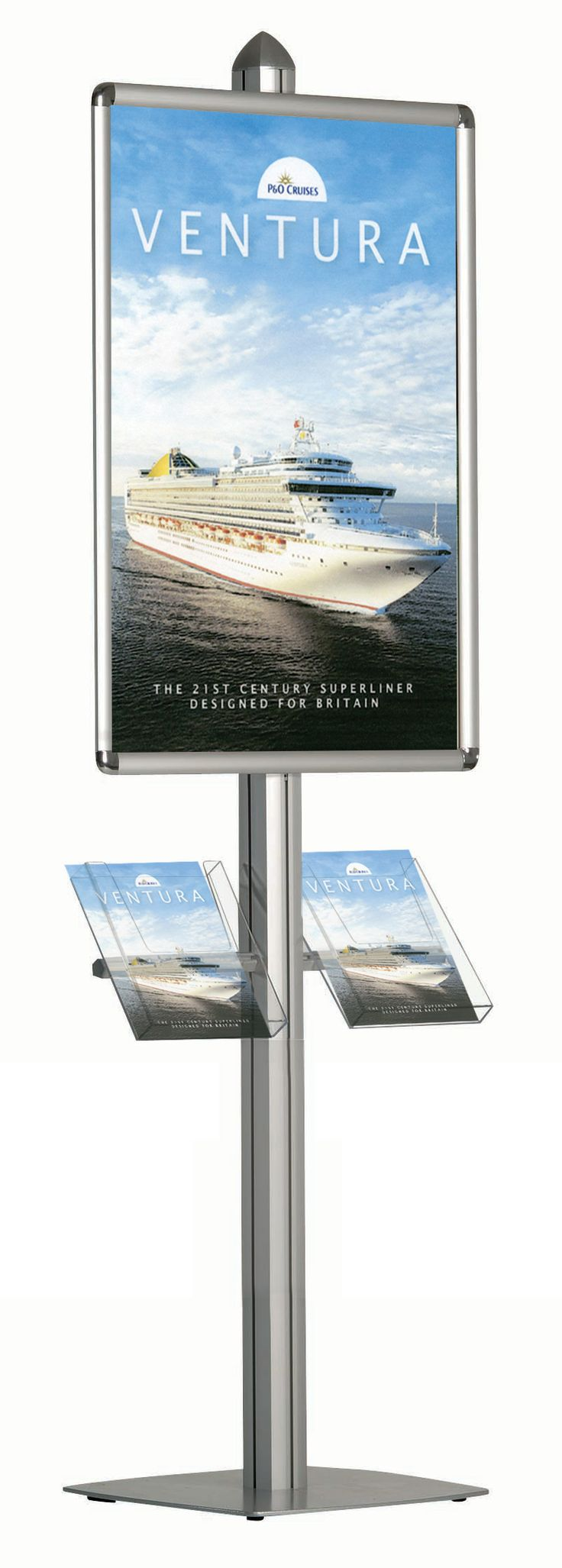 Dynamic poster stand with literature racks # brochure holder www.discountdisplays.co.uk