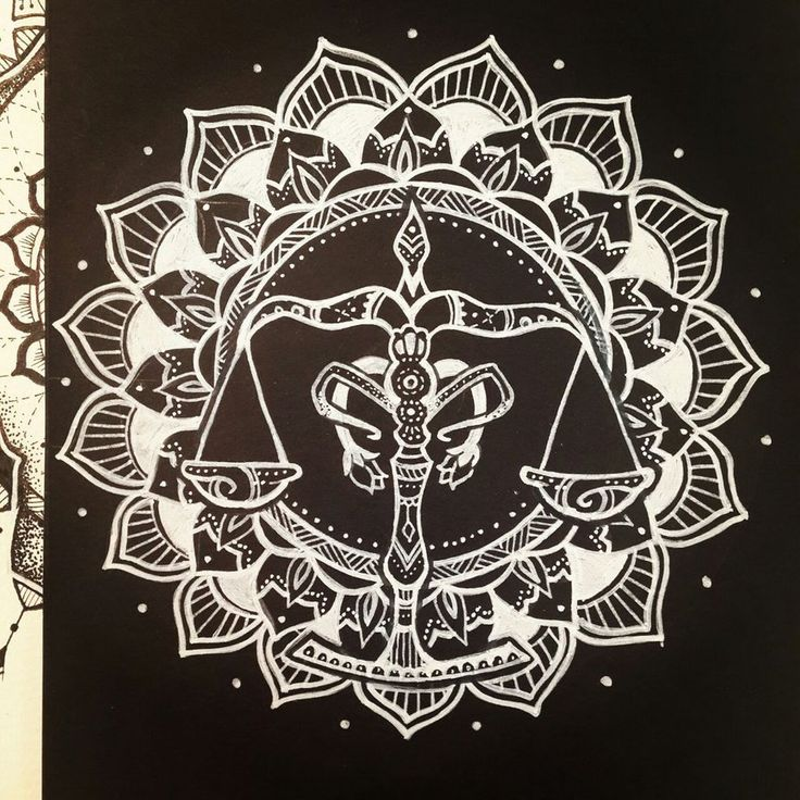 Libra Zodiac Sign Mandala - White on Black by elenoosh