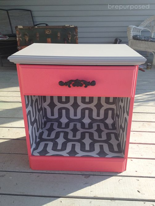 $8 Nightstand Makeover; fabric and ModPodge for inside