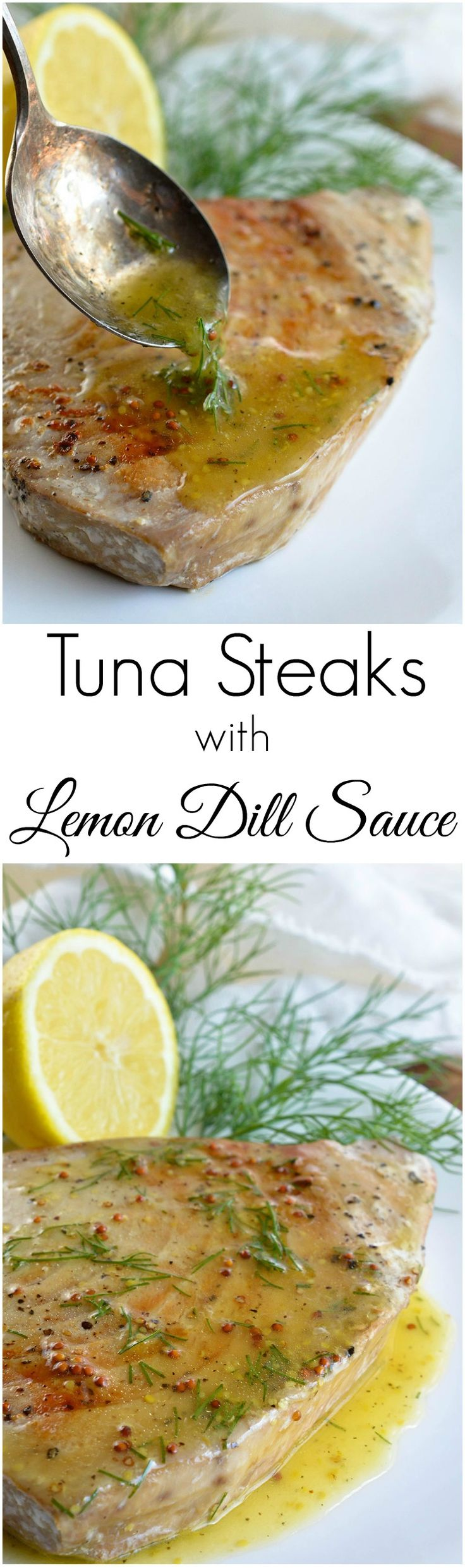 Pan Seared Tuna Steak with Lemon Dill Sauce makes a flavorful and healthy meal. This nutritious lunch or dinner is full of protein and ready in about 10 minutes! ‪#‎WeightWatchers‬ ‪#‎WWSponsored‬ @weightwatchers