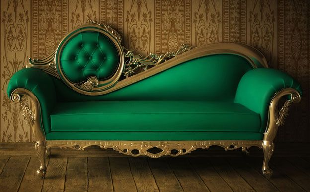 Great vintage green sofa- this is gorgeous! It makes me want to recline in a delicate silk day gown with a novel, tea biscuits, and glass of laudanum at hand...