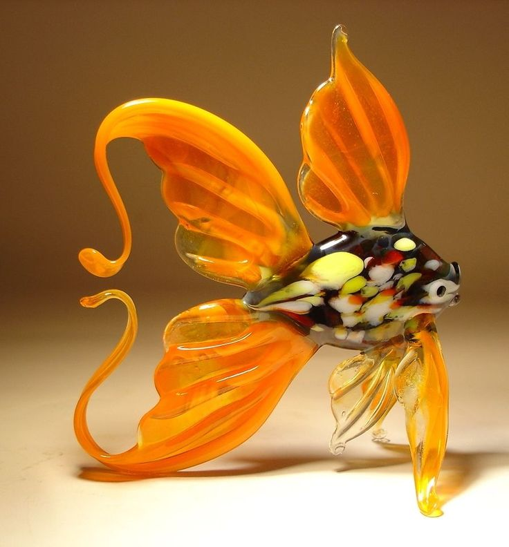 """Blown Glass """"Murano"""" Sea Animal Figurine Exotic Orange with Specled Body FISH  -  nature, wildlife, outdoors.  this seller has some nice figurines, ornaments, etc., but the colors seem more washed out than the russian ones.        lj"""