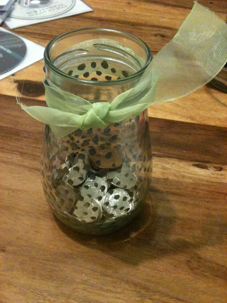 Jam jar coin collector-painted dots with old nail varnish