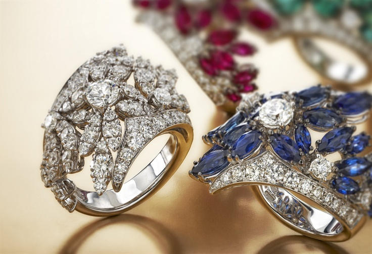 Marlene by #Chimento #Couture: white #gold #rings with white #diamonds, #emeralds, #rubies and #sapphires