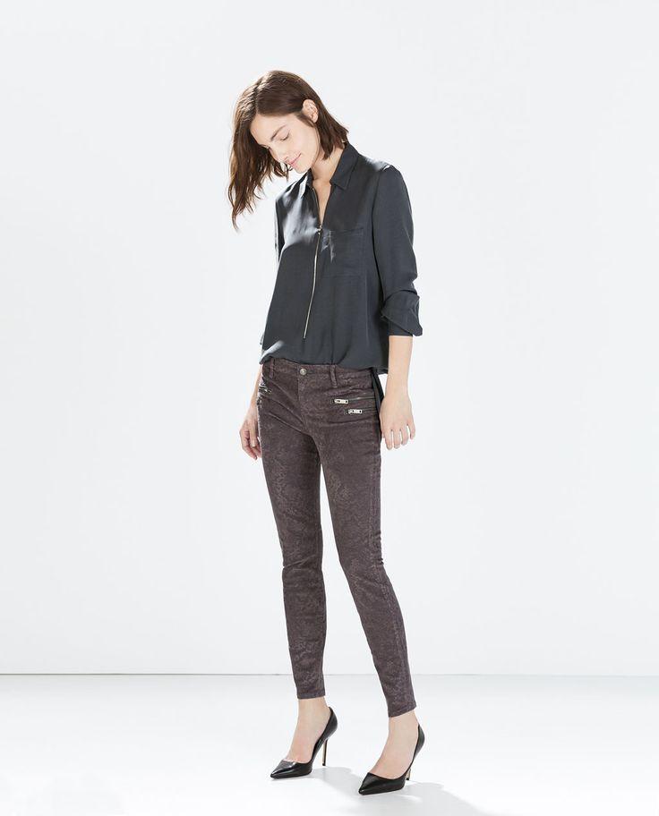 Brocade TROUSERS WITH ZIPS, grey $79.90 | Zara