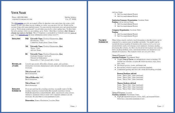 Free Cv Template Curriculum Vitae Template And Cv Example Free Resume Template Word Resume Template Word Curriculum Vitae Template