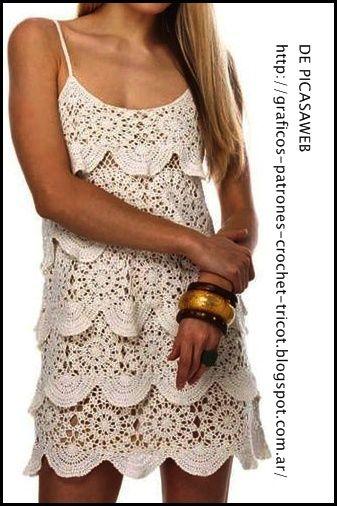 Ganchillo Vestido, Vestido Tejido A Crochet, Hilo Lana Tejidos Crochet, Tejidos Vestido, Ganchillo Tejidos, Elegante Vestido, Vestimenta, Vestidos Crochet