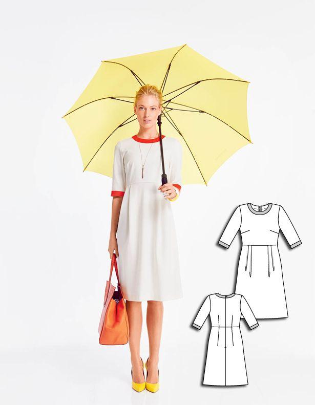 A-Line Dress 08/2015 burdastyle/sewingpattern/diy/sewing/dresspattern #vestido #manga #branco