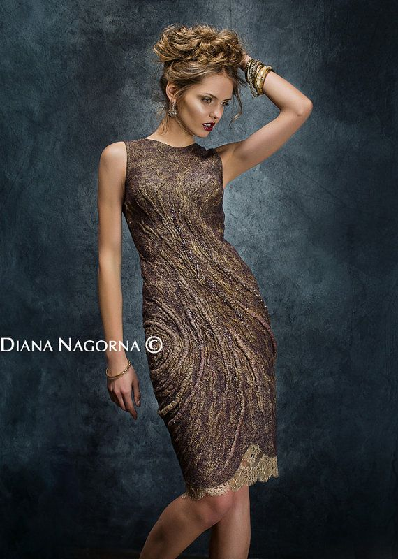This Light bronze felted dress is from my Felt Collection 2014 Gleam of the Moon.  I have a beautiful video story about the creation of this fantastic woolen dress . You can watch this video on my channel you tube , you will enjoy it! -  https://www.youtube.com/watch?v=xtqp2JReYqQ THIS DRESS IS ALREADY SOLD , I CAN MAKE A SIMILAR by individual measures client on request. Made in the technique of wet felting, made from the finest merino wool and silk . Seamless! Decorated with…