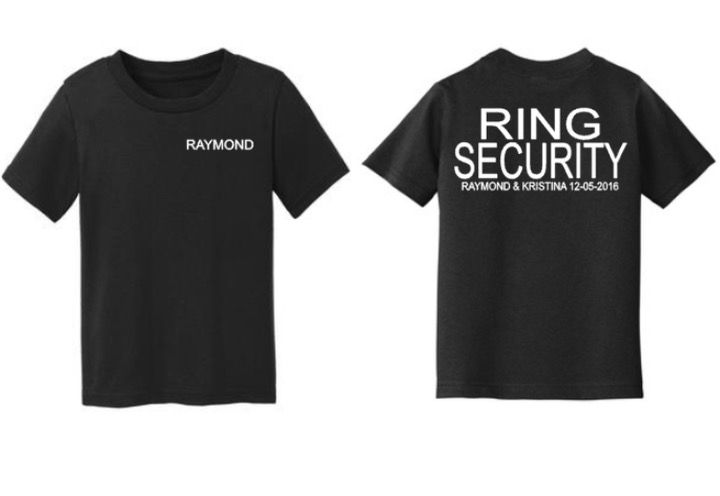 Boys Ring Security Shirt, Wedding Party, Kids Ring Bearer, personalized, Bride Groom, Wedding Announcement