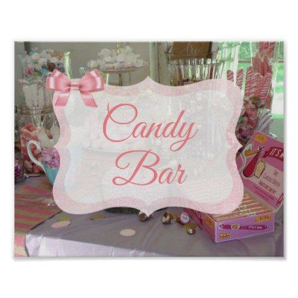 Candy Bar Sign Pink Baby Shower Poster - baby shower ideas party babies newborn gifts