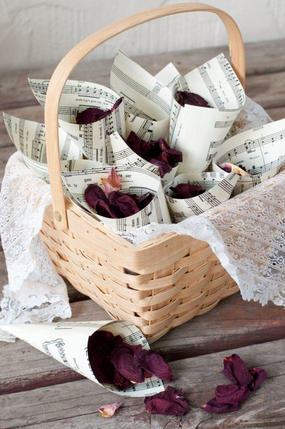 100 Wedding Paper Cones for Petal Toss Music Page by DiddleBug, $50.00
