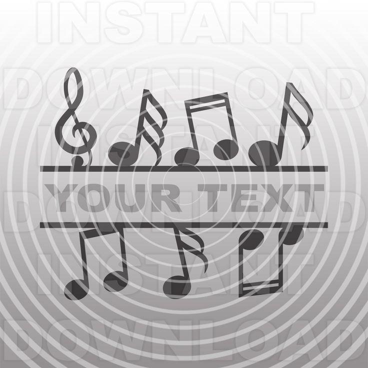 Music Notes Split Monogram SVG File Vector Clip Art for