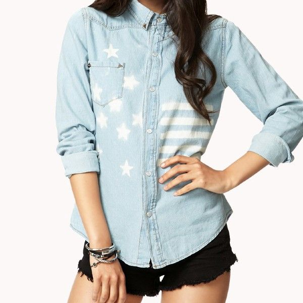 Rustic American Flag Denim Shirt by Forever21