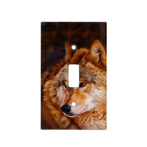 Red wolf fractal light switch cover