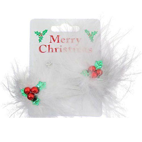 Paire de Houx de Noël et plumes pinces à cheveux Barrettes à cœurs: Paire de pinces à cheveux Floaty plumes Nouveauté motif de Noël Cet…
