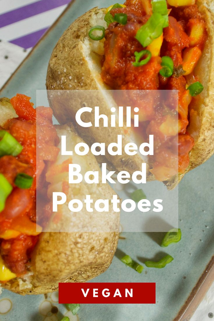 Crispy oven baked potatoes filled with a spicy vegan chilli made with beans, corn, and vegetables! Great as a side dish or as a main for dinner!