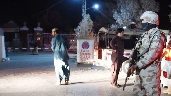The militants stormed the police academy's hostel, where cadets were stayingAt least 44 cadets and guards have been killed after militants attacked a police college in the Pakistani city of Quetta, officials say.A major security operation lasted for hours after the attackers entered the building and opened fire.The officials believe three militants wearing bomb vests stormed the college. All were killed.Hundreds of trainees were evacuated from Balochistan Police College as troops arrived to…
