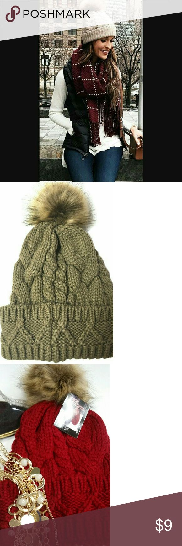 New puff Beanie New cable knit slouchy Puff beanies One size  Snug fit Cold weather ready♡ none Accessories Hats