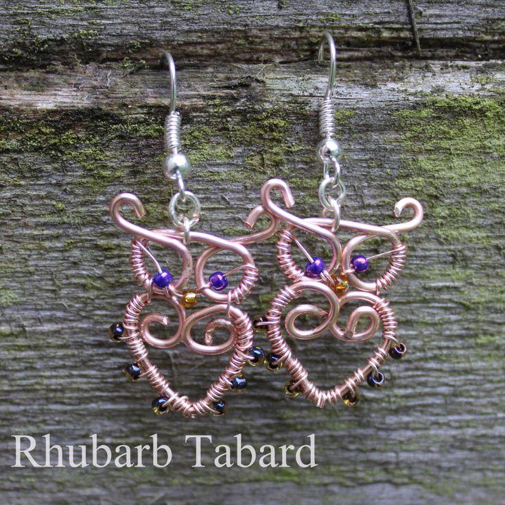 Owl earrings, owl, wire wrapped owls, handmade jewellery, handmade owl, unique earrings, pretty owl jewellery by RhubarbTabard on Etsy
