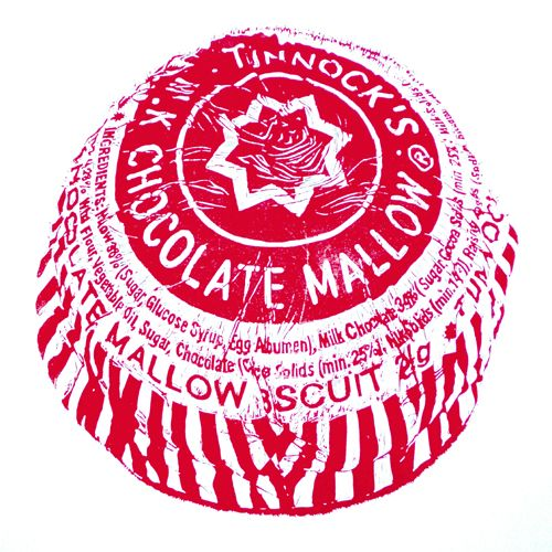 Graham Spice ~ Tunnocks Tea Cake ~ Linocut, 28 x 28 cm
