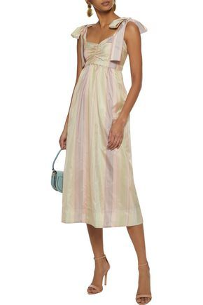 de53583f9ed3 Bow-detailed ruched striped sateen midi dress by See by Chloé ...