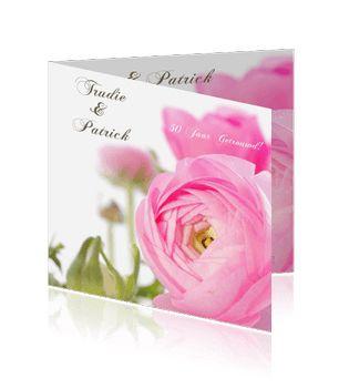 Jubileumkaarten maken voor een huwelijksverjaardag met bloemen. Een prachtige kaart voor de aankondiging van uw jubileum.