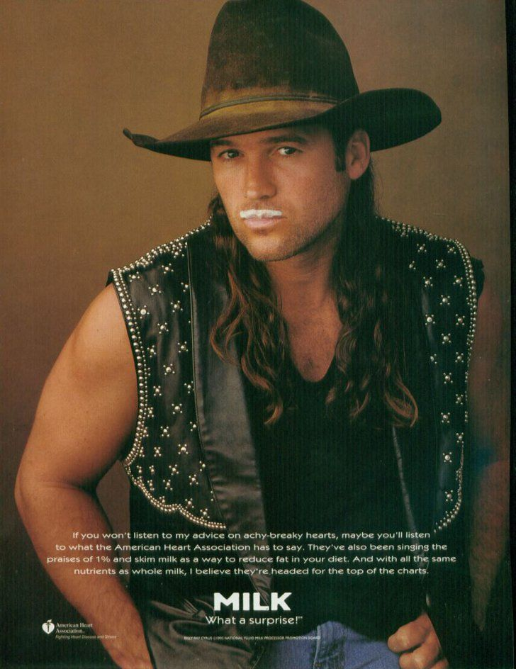 Pin for Later: The Most '90s-tastic Got Milk? Ads  Miley Cyrus's dad, Billy Ray Cyrus, rocked a leather vest and long locks with his mustache.