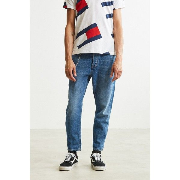 Tommy Jeans '90s Carpenter Jean ($139) ❤ liked on Polyvore featuring men's fashion, men's clothing, men's jeans, mens faded jeans, mens button fly jeans, mens cropped jeans, mens flap pocket jeans and tommy hilfiger mens jeans