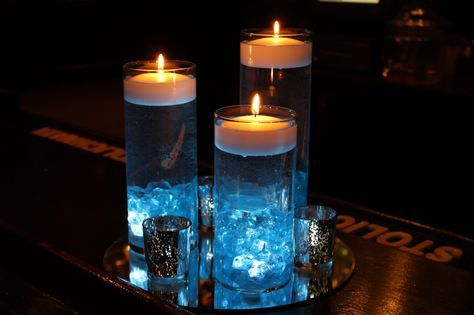 Glass Cylinder Centerpiece with Crystal Chips
