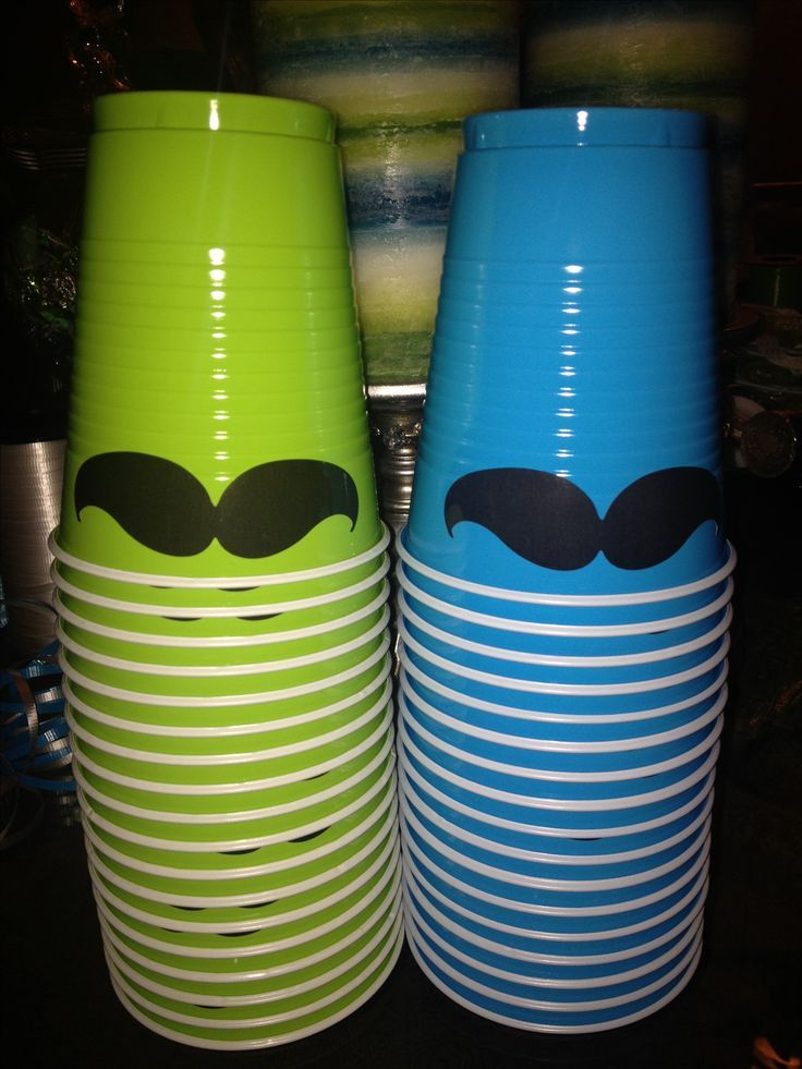 Mustache Bash Baby Shower It's a Boy - Do it yourself - Decorate your cups with mustache stickers - easy to find in the scrapbook section of any store.