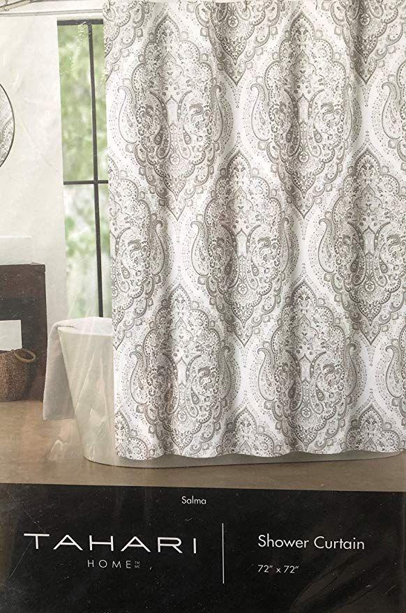 Tahari Fabric Shower Curtain Beige And Gray Paisley Medallions