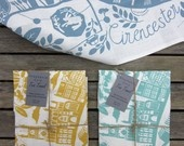 Linen screen printed Cirencester tea towel, Stephanie Cole DESIGN