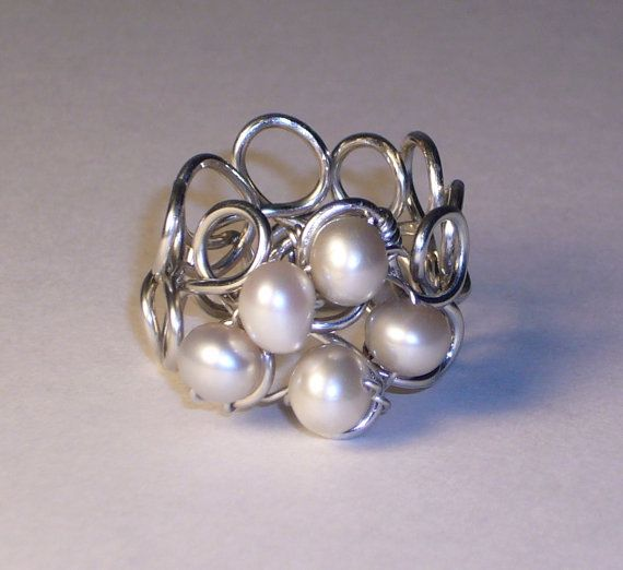 ringRings Champagne, Pearl Rings, Champagne Pearls, Pearls Rings, Sterling Silver, Jewelry Ideas