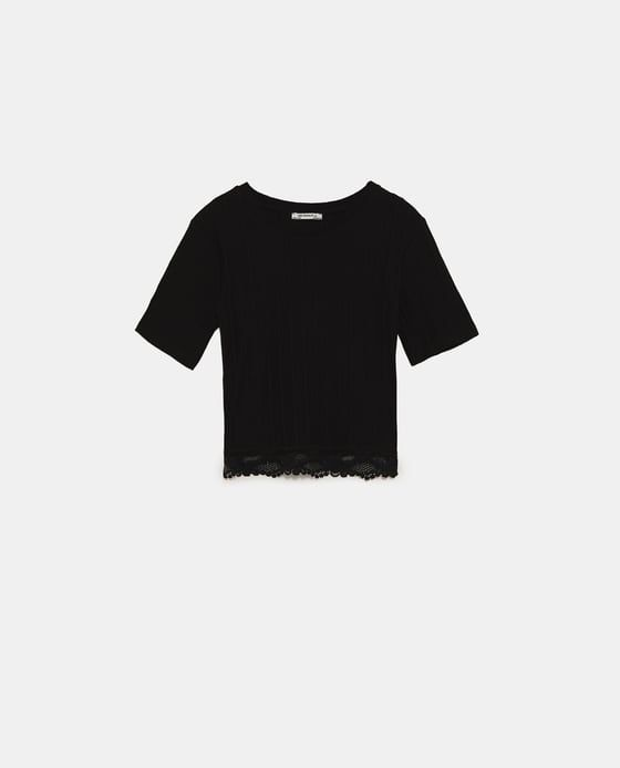 cf1d68f4 Image 8 of RIBBED T-SHIRT WITH LACE HEM from Zara | Clothes in 2019 ...