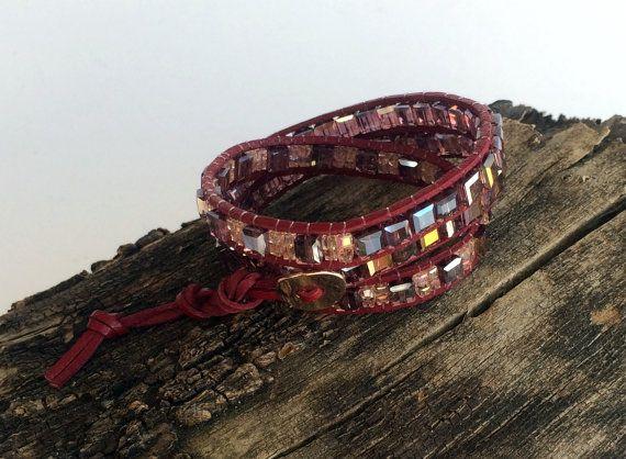 Leather Wrap Bracelet 3 Wrap Bracelet Crystal Cube by GULDENTAKI