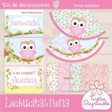 Kit de decoraciones Lechucitas