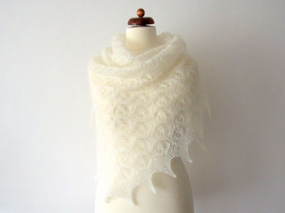ecru bridal cover up delicate lace shawl silk and mohair