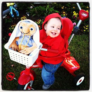 Cute Toddler E.T. (Elliot) Halloween Costume.  Sources to put this costume together listed in the post.   The Lowcountry Lady