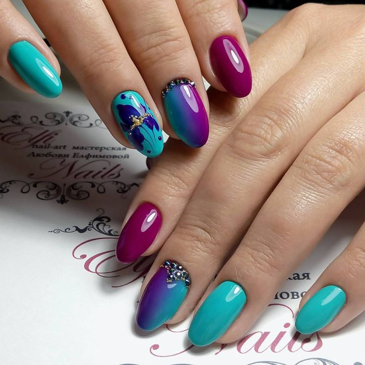 Bright gel polish for nails, Bright ombre nails, Exquisite nails, Nails trends 2017, Oval nails, overflow nails, Party nails, Splashy nails