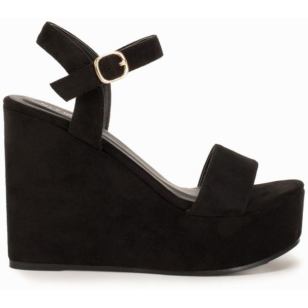 Nly Shoes Platform Wedge Sandal (£38) ❤ liked on Polyvore featuring shoes, sandals, zapatos, black, party shoes, womens-fashion, platform wedge shoes, black sandals, open toe sandals and strap sandals