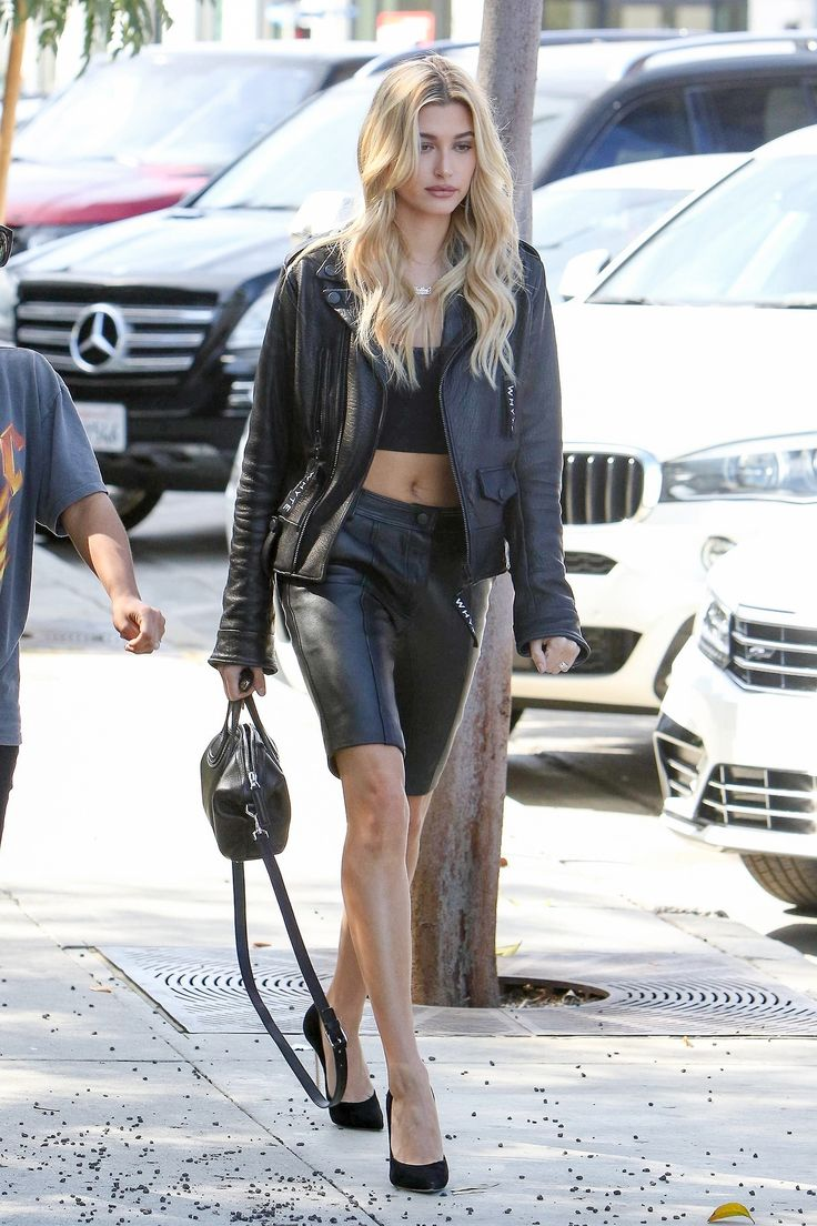 Model Street Style Photo Leather Outflit For Celebrities Pinterest