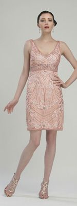 Sue Wong Peach Metallic Petal Embroidered Cocktail Dress