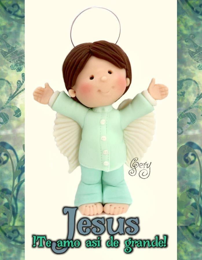 angel brazos arriba  porcelana fria polymer clay, mangas