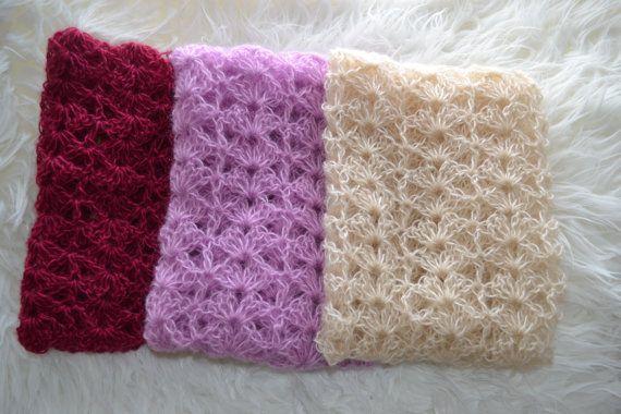Newborn Blanket Baby Blanket Cream Purple by knitbabyclothes, $23.00