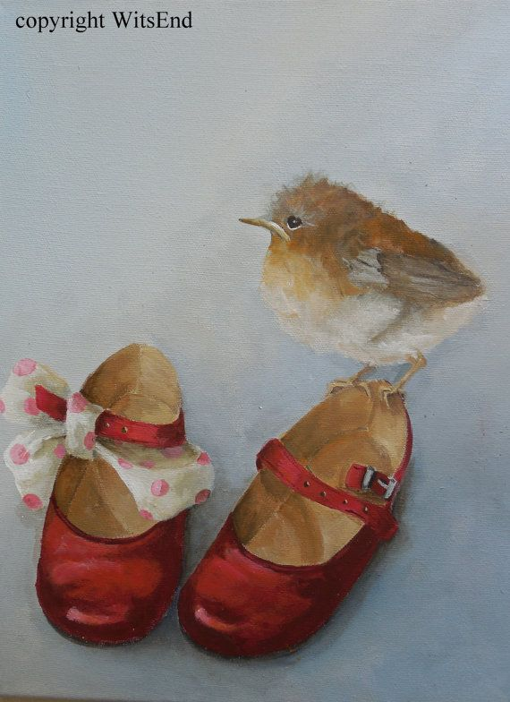 Bird Shoes painting original red baby shoes and robin chick still life art