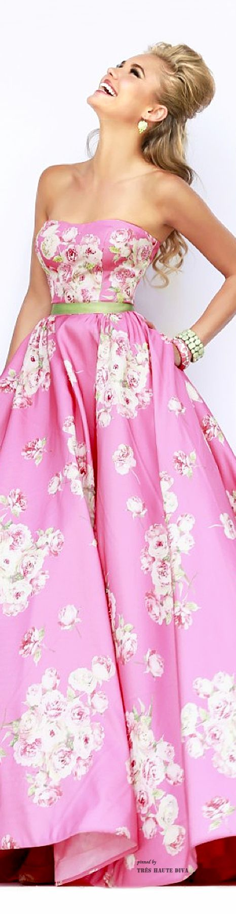 Sherri Hill ~ Spring Pink Floral Maxi, 2015