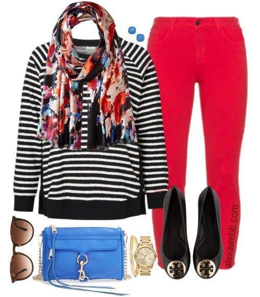 Plus Size Outfit Idea - Plus Size Red Jeans Outfit - Plus Size Fashion for Women - alexawebb.com #alexawebb #plus #size