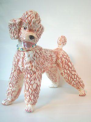 "Large Vintage Ceramic Pink (or Apricot) Standard Poodle, 11"" tall"
