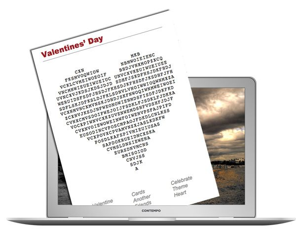 Puzzle Challenge...find the word 'Valentine' in this Word Search Puzzle